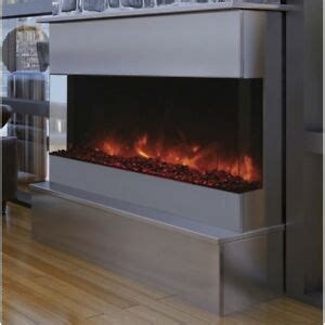 amantii   electric fireplace  black glass wm