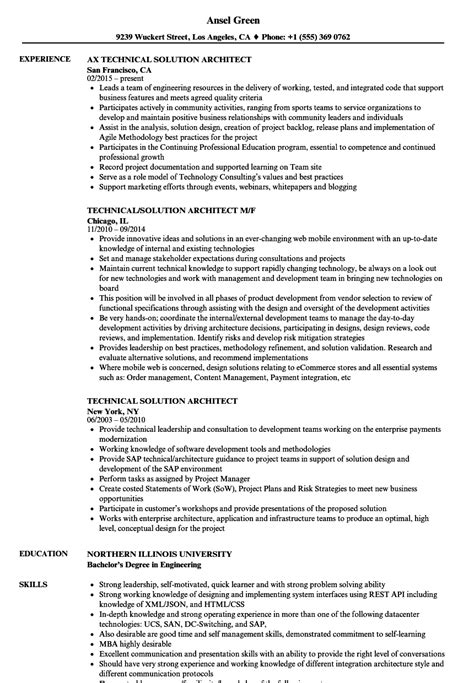 Sle Solution Architect Resume by Technical Solution Architect Resume Sles Velvet