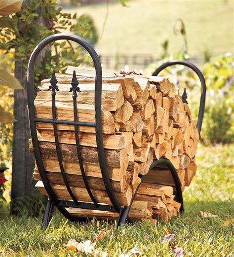 steel  wrought iron curved wood rack  finials outdoor wood racks plowhearth