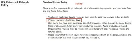 phone return policy apple iphone return policy changing to 14 days tomorrow
