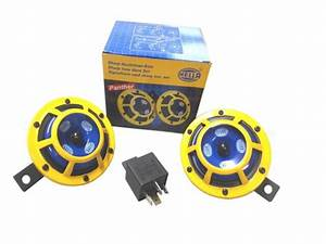 Genuine Hella Yellow Panther Horn Set Relay Harness