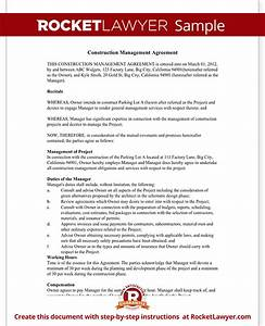 construction management agreement contract form with sample With construction management document templates