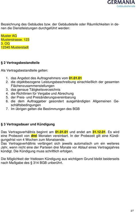dienstleistungsvertrag muster