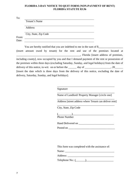 free 3 day notice form florida 3 day notice to quit form non payment of rent