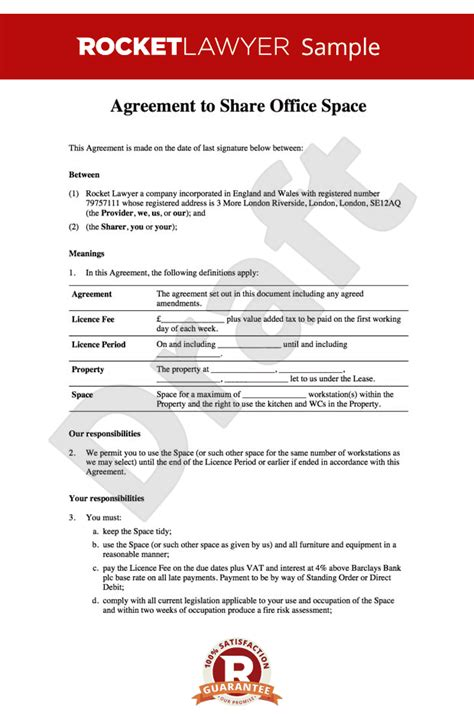 desk rental agreement template office sharing agreement office rental agreement