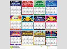 2010 Set Of 12 Themed Calendars Stock Illustration Image