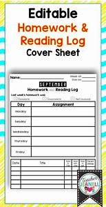 Homework Cover Sheet Template Homework Cover Sheet With Reading Log Editable Back To