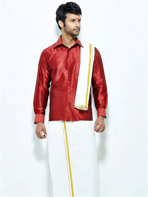 winsome maroon color raw silk shirt paired  white