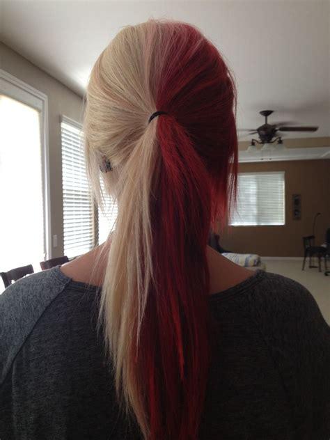 Half Blonde And Half Red Hair Hair Ideas Pinterest