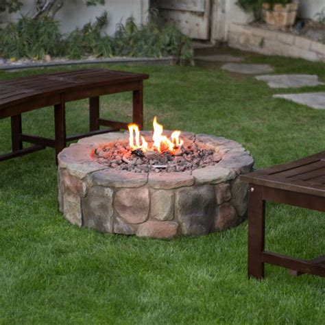 Outdoor Propane Fire Pit Backyard Patio Deck Stone