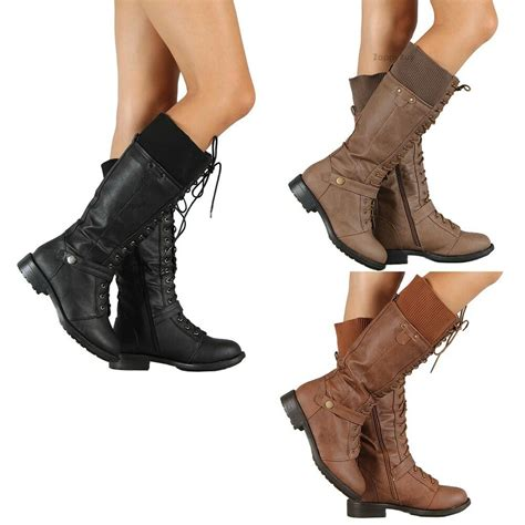 New Womens Military Combat Fashion Boots Lace Knee High