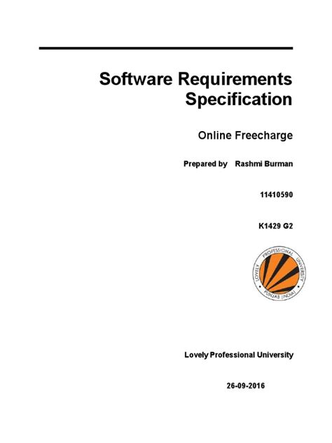 Software Requirements Specification: Online Freecharge