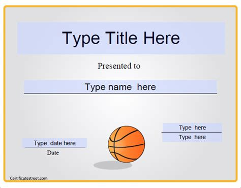 Sports Certificate Templates Free Printable by 10 Basketball Sports Certificates Certificate Templates