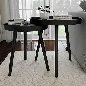 Nesting, End, Tables, Circular, Contemporary, Deco, By, Lavish, Home, Black, Set, Of, 2