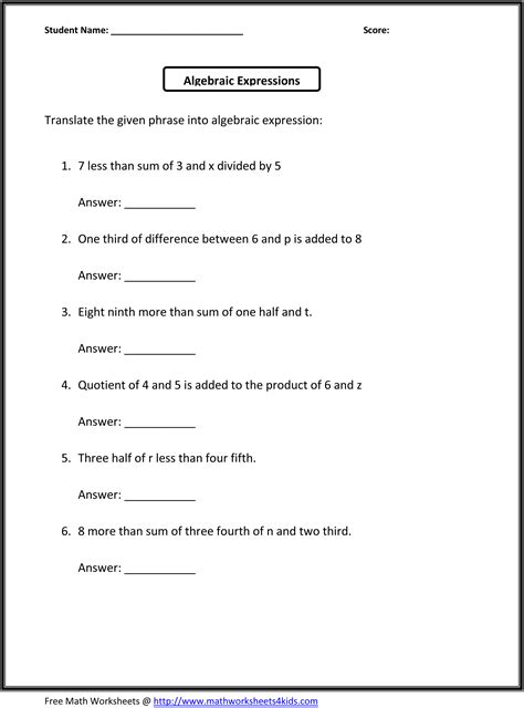 grade math expressions worksheets