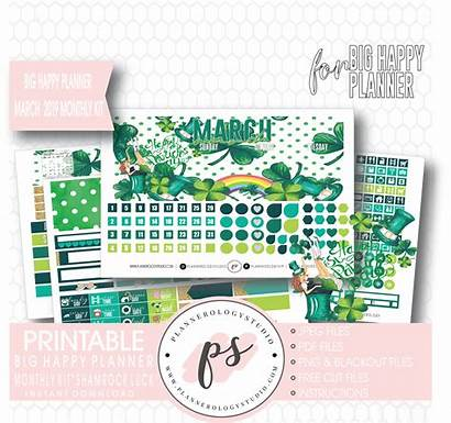 Shamrock Planner Happy March Patrick Luck Monthly