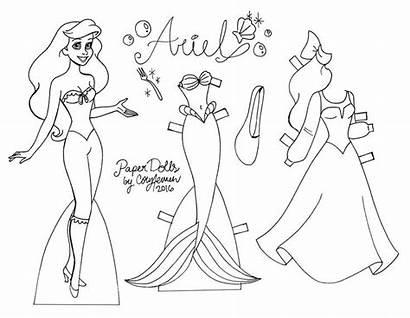 Dolls Paper Princess Disney Coloring Pages Ariel