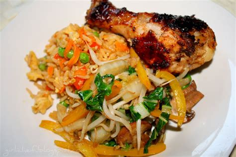 grilled asian inspired chicken legs special fried rice