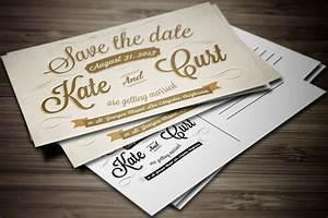 Vintage Wedding Invitation Postcard ~ Card Templates ...