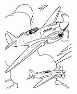 Coloring Pages Airplane Drawing Fighter Military Plane Drawings Outline War Aircraft Sheet Ww2 Jet Sheets 40 Warhawk Sketch Ww1 Planes sketch template