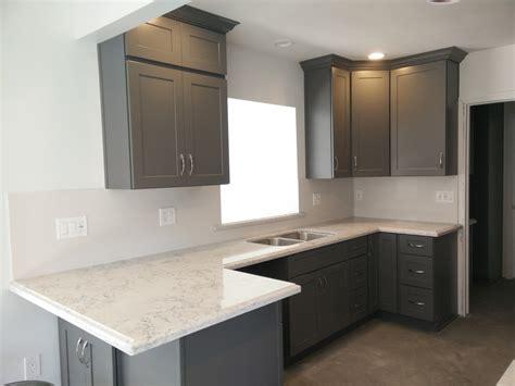 dark gray shaker cabinets  silestone quartz countertop