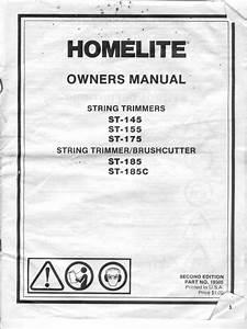 Homelite St145 St155 St175 Strimmer And St185 St185c
