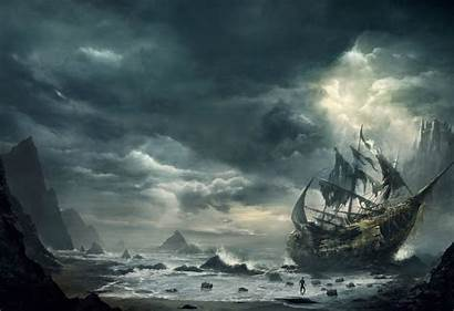 Pirate Wallpapers Fantasy Cove Ship Cool Painting