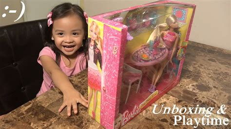 toy dolls   girls unboxing barbie glam dining