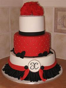 Red, Silver, Black Wedding Cake. - CakeCentral.com