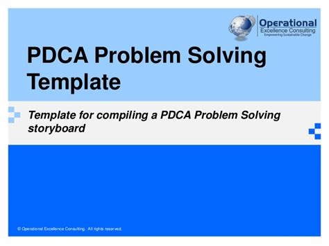 pdca problem solving template  operational excellence