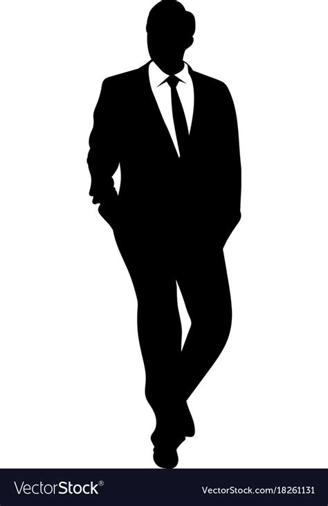 silhouette of a business in a suit walking vector