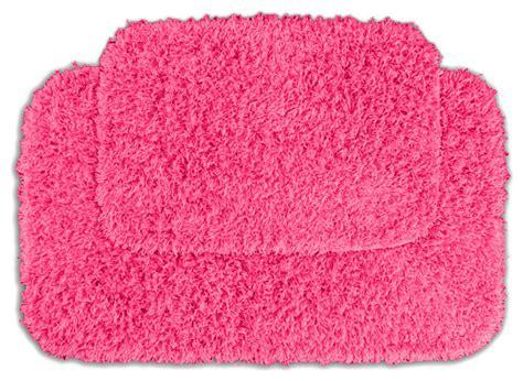 quincy super shaggy pink bath rugs set