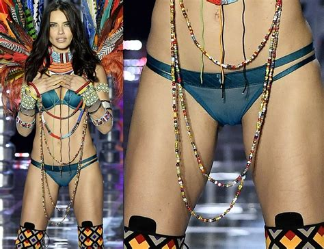 Adriana Lima Shows Her Pussy In See Through Panties
