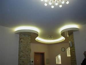 Corniche Plafond Platre : faux plafond pl tre lumineux avec spots decoration plafond ~ Edinachiropracticcenter.com Idées de Décoration
