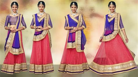 how to wear lehenga with new style of dupatta draping
