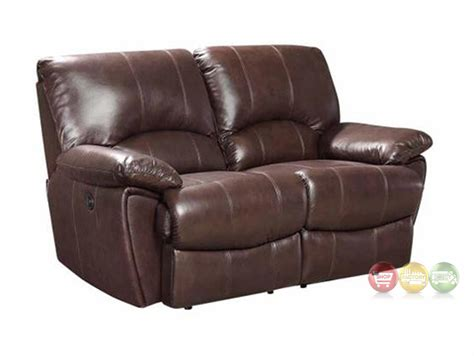Top Grain Leather Loveseat by Clifford Dual Reclining Brown Top Grain Leather Motion