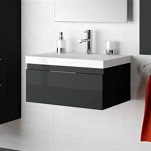 Organisateur Tiroir Salle De Bain : meuble salle de bain 60 100 cm noir 1 tiroir versus ~ Teatrodelosmanantiales.com Idées de Décoration