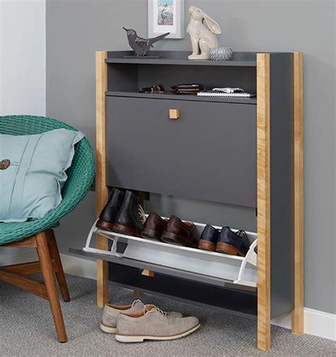 STORE   Grey Shoe Storage Cabinet   2 Drawer   Hannover