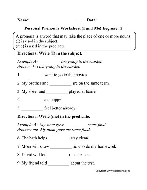 i and me personal pronouns worksheets part 2 beginner