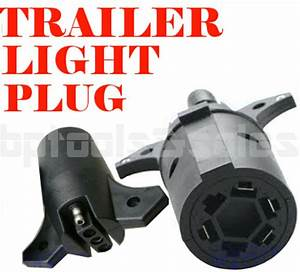 New 7 Way Round To 4 Pin Flat Trailer Connector Plug Light