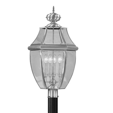 brushed nickel livex 4 light monterey outdoor post