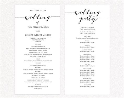 Wedding Program Template Wedding Ceremony Program Templates 183 Wedding Templates And