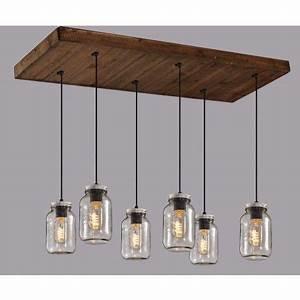 Luminaire Suspension Bois : luminaire suspendu sur base rectangle en bois avec 6 pots mason en verre clair sur fil noir ~ Teatrodelosmanantiales.com Idées de Décoration