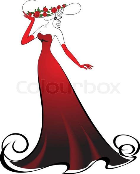 woman  gloves   elegant long red dress stock