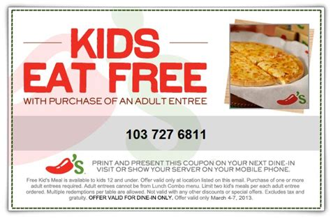 Chili's Kids Eat Free With Adult Entree Purchase