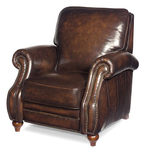 traditional leather high leg recliner with turned wood