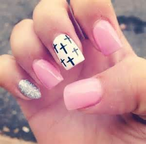 Cute nails pink cross nail art