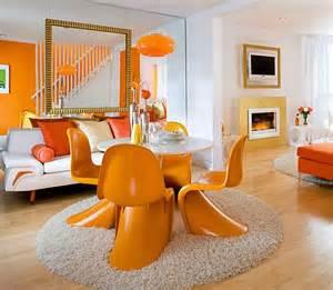 Orange Livingroom White And Orange Living And Dining Room Decoist