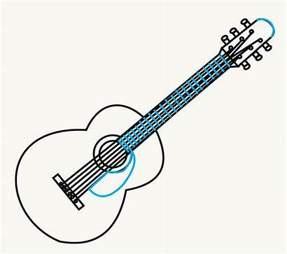 Guitar Draw Drawing Easy Acoustic Step Sketch