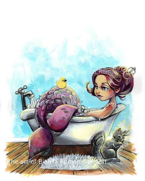 Bathtub Mermaid Print Art Of Bianca Roman Stumpff